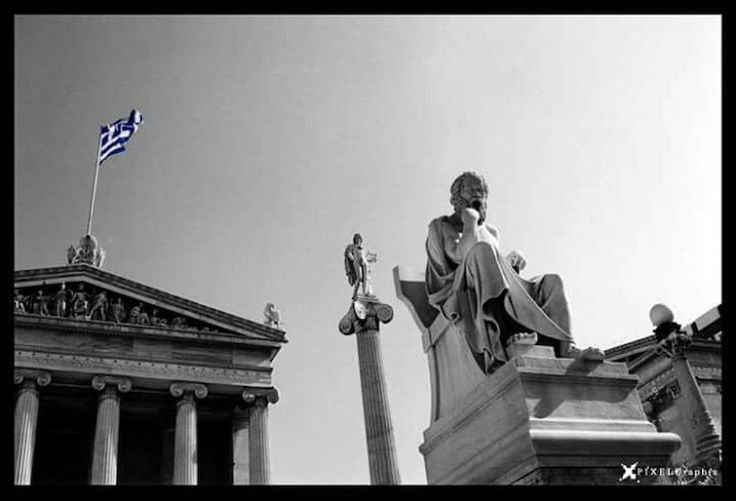 Academyofathens Athens Academy Ancient Greek Architecture And Design Socrates Apollo Column Neoclassical Architecture NeoclassicalColumns Hello World Greece Instadaily Instagood Instagreece Architecture Greekflag Blackandwhite Photography Perspective