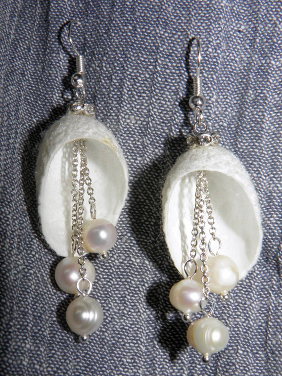 Silk cocoon earrings with pearls / Wedding Jewelry / by Marywool, $14.00