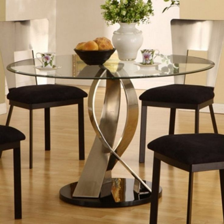 Furniture Remarkable Artistic Round Glass Top Dining Table Design With Amusing Laminated Flooring Ideas And Contemporary Black Cushion Chairs Exelent