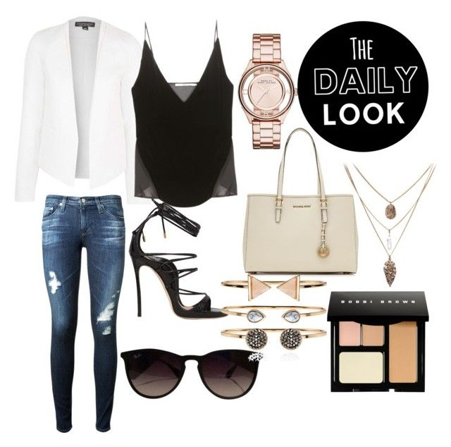 """Elegantly casual"" by taniamin on Polyvore featuring Dsquared2, Topshop, Ray-Ban, Marc by Marc Jacobs, MICHAEL Michael Kors, Accessorize, AG Adriano Goldschmied, J Brand, Bobbi Brown Cosmetics and sandals"