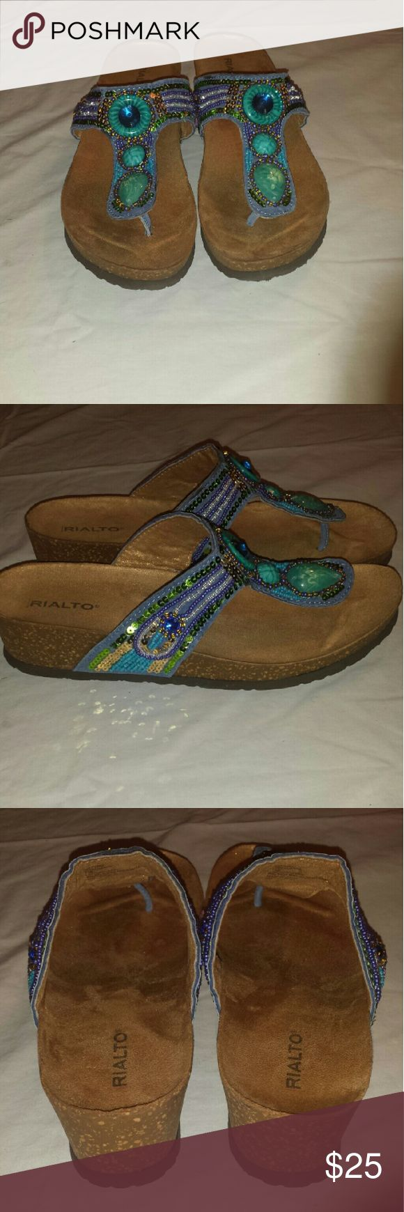 Turquoise sandals Beautifully beaded turquoise sandals. With shimmering gold bottom. Shoes Sandals