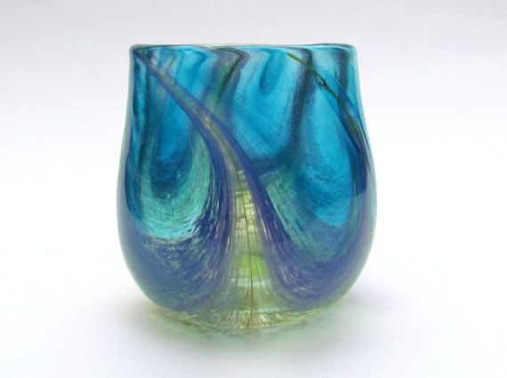 Peacock Tumbler, Blue Drinking Glass, Marbled Water Glass, Blue Purple and Green Art Glass Cup, Studio Glass Tumbler, Colorful Tumbler