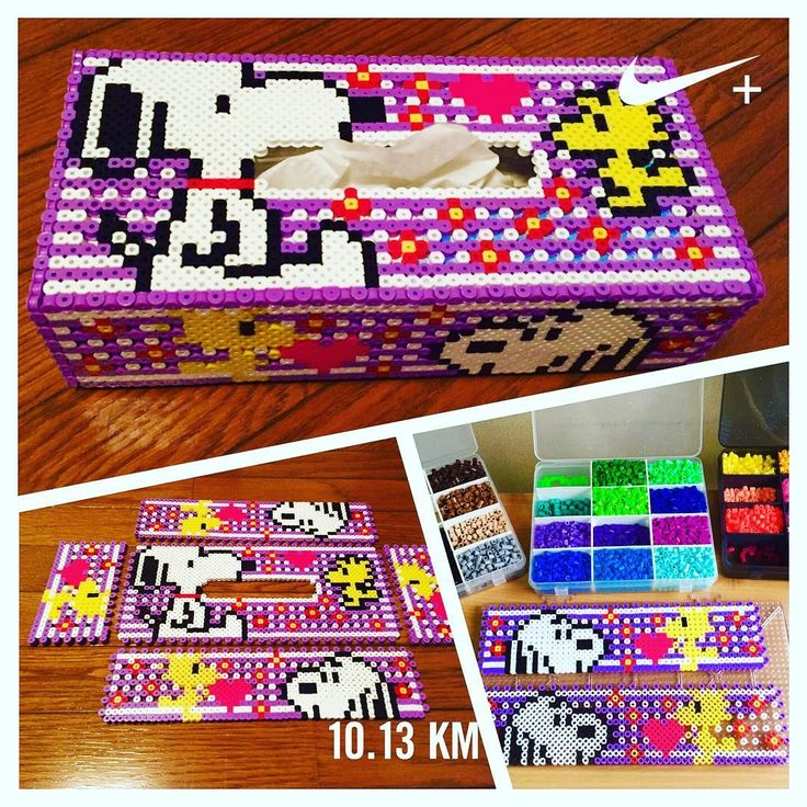 Snoopy tissue box cover perler beads by yo_si516