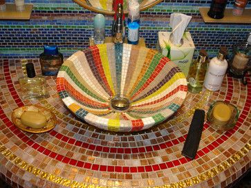 A mosaic sink really brings the wow factor to the bathroom!