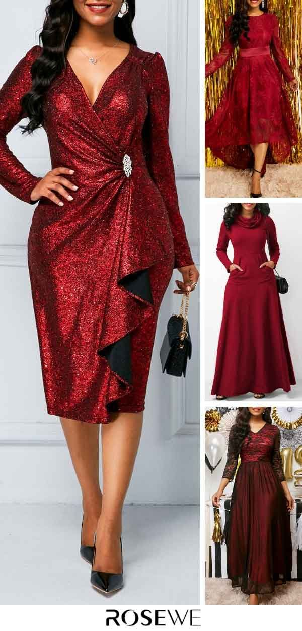 2116ccb8a6 Wine Red Zipper Back Sequin Fashion Outfit Women Cocktail Dress ...