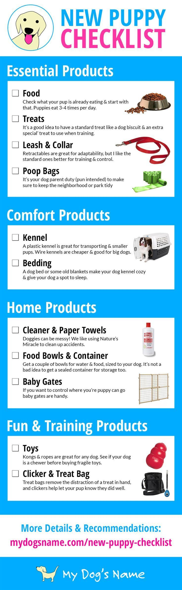 Adopting a new puppy? This checklist gives you a great list of everything you need for your new adventure. Let your new dog have everything he/she needs!