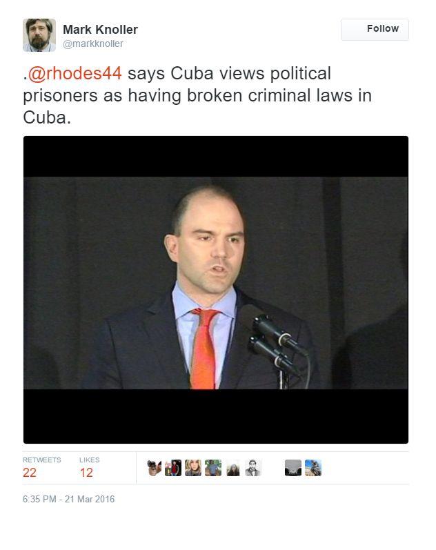 "WH Supports DICKtators: Obama's Assistant Ben Rhodes EXPLAINS, cough, cough, EXCUSES dictator/murderer CASTRO ""Cuba Views Political Prisoners As Having Broken Laws"""