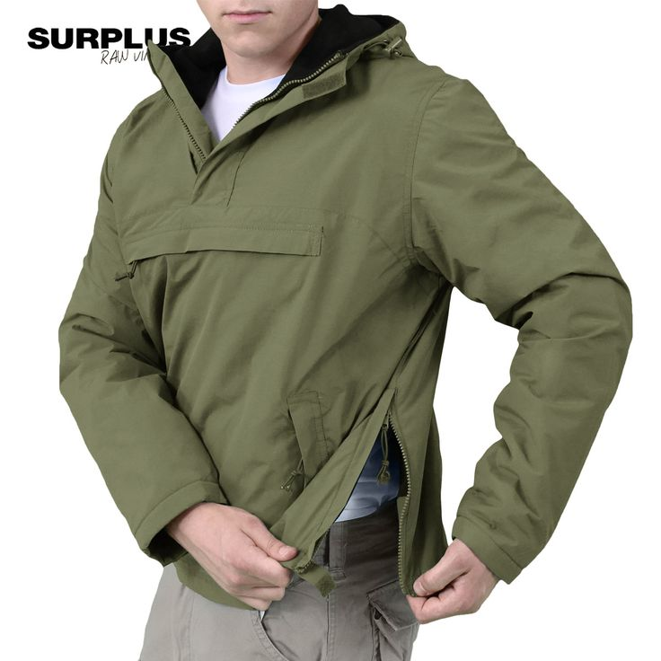 Surplus Windbreaker Jacket is an anorak style rain jacket with breathable, windproof and water-repellent nylon outer and warm soft fleece lining. Also features an adjustable hood and a high collar, short front zip, two hand pockets and large chest pocket, adjustable waist and cuffs, and side zippers for ease of movement. From £38.99! Available now at Military 1st online store. Free UK delivery and returns! Competitive overseas shipping rates.