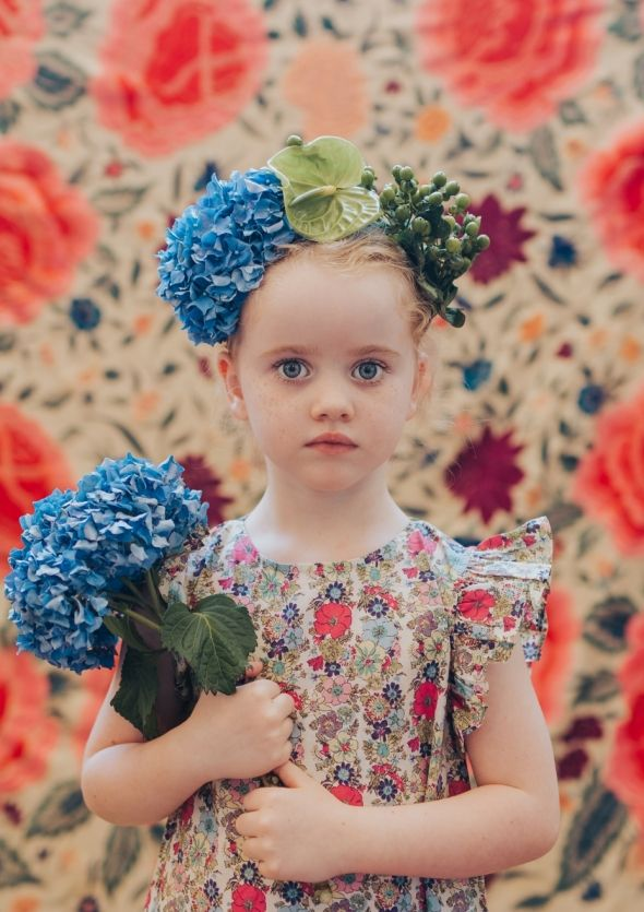 Valentina dress in guadalupe floral print and fresh blue hydrangea flower crown 🌿