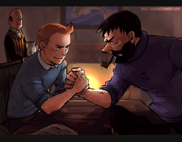 TINTIN: Wrestle by Minyi | Personally I think Tintin would beat anyone in an arm wrestle. He's a lot stronger than he looks. Good thing they made him more muscular in the movie!
