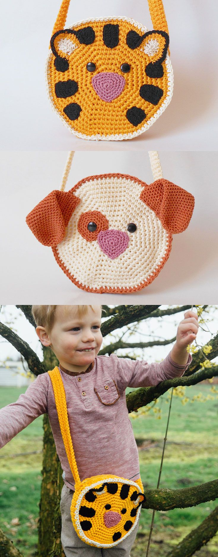 Tiger and dog cross body bags, a bigger size accessory to go with the kids on everyday adventures. A child's life is filled to the brim with different activities and outings, and what better way to keep it all organized than with cute and soft amigurumi bags?