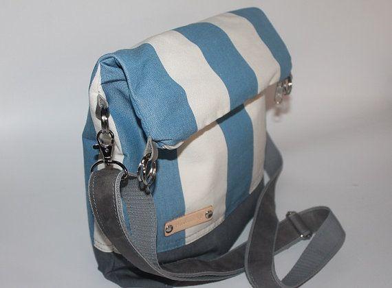 Fold over blue striped canvas bag unisex cross body bag by BYildi