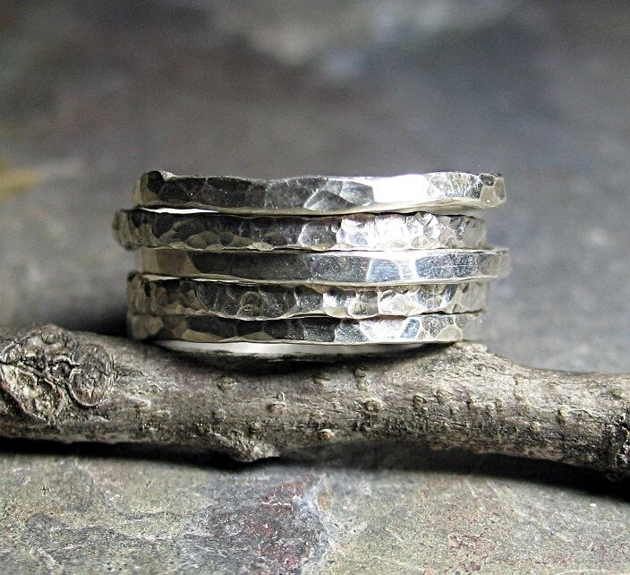 Stacking Rings Sterling Silver Hammered Textured Skinny Rustic - Organic Skinnies Set of Five by LavenderCottage on Etsy (null)
