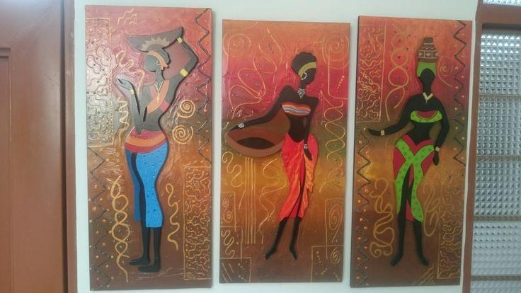 Cuadro de Negras africanas en madera