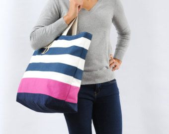 EXTRA Large Beach Bag // Tote in Navy Chevron by LucyJaneTotes