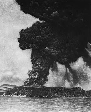Photo of the Krakatoa eruptive activity a few hours before the major explosions (taken on August 26, 1883 from a ship crossing the Sunda Strait.