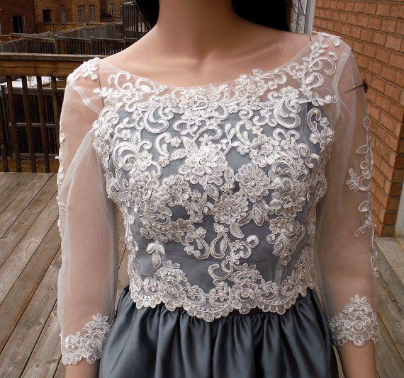 Beaded lace wedding bolero Ivory/white wedding by hollyxholly
