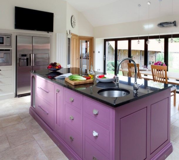 Apply Purple Kitchen Island For Perfect Look Purple Kitchen Cabinets Traditional Kitchen Island Kitchen Design