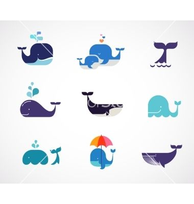 Collection of whale icons vector 4156294 - by ma_rish on VectorStock®