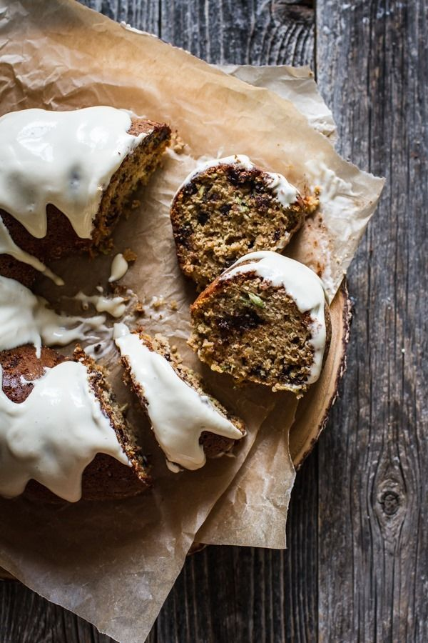 Chocolate Chip Zucchini Cake with Cream Cheese Frosting [only 2 Flours!]   edibleperspective.com #glutenfree
