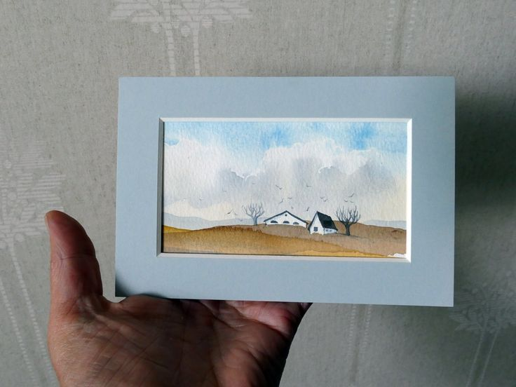 Small landscape watercolor monted in a light gray passpartou, artwork by artist Ilse Hviid by IlseHviid on Etsy