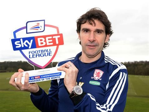 Middlesbrough boss Aitor Karanka has been named the Sky Bet Championship Manager of the Month for January.