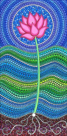"""Elspeth McLean - Con un estilo vibrante, etéreo y original esta artista crea verdaderas maravillas llenas de puntos de vivos colores, donde predomina el círculo, símbolo de la unidad y del infinito. """"Painting dots is a meditative and grounding experience which is so enjoyable she has dedicated her life to it."""" ¡Me encantan sus mandalas pintados en piedra!"""