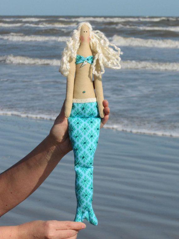 #Mermaid #doll turquoise fabric doll softie by #HappyDollsByLesya