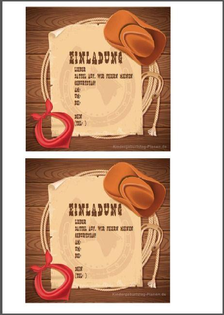KOSTENLOS! Einladung Für Den Kindergeburtstag Mit Cowboy Oder  Cowgirl Thema, Western Oder Wild