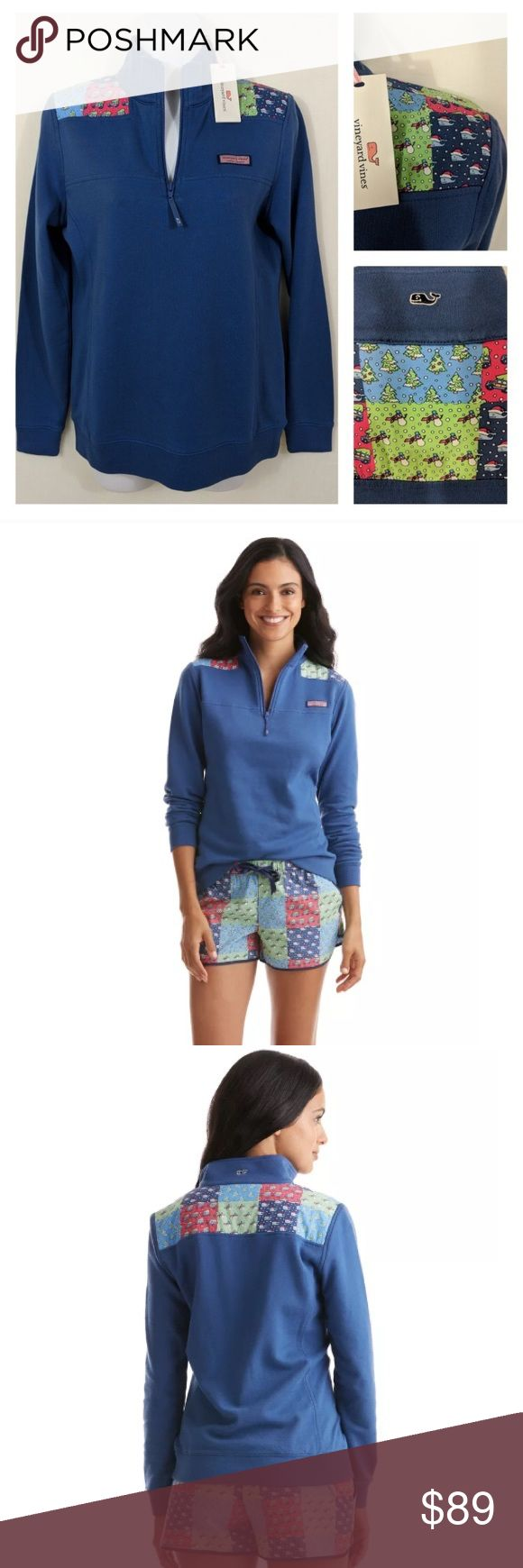 "Vineyard Vines Holiday Patchwork Pullover Take the holidays with you! Celebrate the season everywhere you go with our merry patchwork of holiday scenes on the shoulders of this cozy women's shep shirt.  Fabrics: · 100% cotton-French terry   Features: · 2X2 rib trim on cuff  · Embroidered whale on back neck  · Signature label on the chest  · Grosgrain zipper pull  · Holiday patchwork pattern on shoulders  · Measurements: pit to pit 18""shoulder to hem 24"" (size XS) pit to pit 17.5"" shoulder to…"