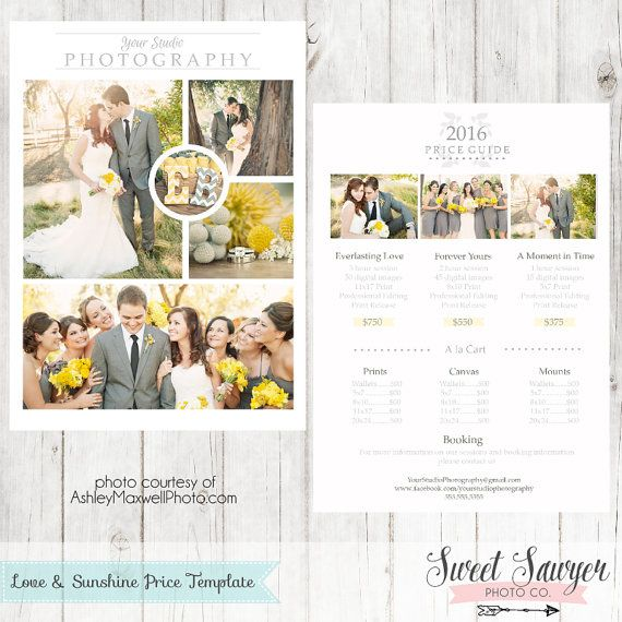 Photography Pricing Template  Price List Template  Photographer