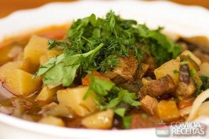 Receita de Sopa de macarrão com carne e legumes em receitas de sopas e caldos, veja essa e outras receitas aqui!