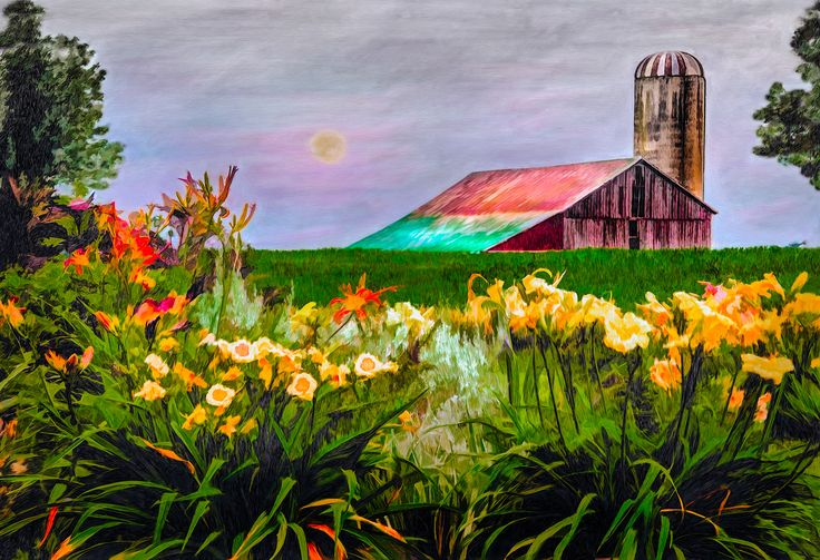 Farm Flowers - This painting was from a backyard of some folks who have over an acre of daylilies. At their peak bloom, I must say, it is a breathtaking sight.