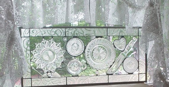 stained glass collage art Grandma's by Barbarasstainedglass: Grandma Kitchens, Glasses Collage, Art Grandma, Collage Art, Crystals Cascading, Glasses Ideas, Glasses Projects, Stained Glasses, Art Glasses