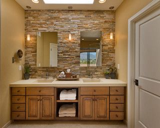 This Phoenix Bathroom Has A Rustic Vibe With The Light Wood Vanity And  Light Brick Wall
