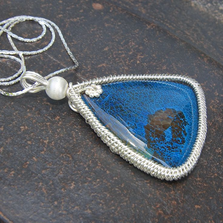Excited to share that my jewelry is now available on #etsy: Blue Gemstone pendant, Silver Gemstone Necklace, Fire Agate Necklace, gemstone and flower, Trendy blue necklace, Sterling Silver pendant