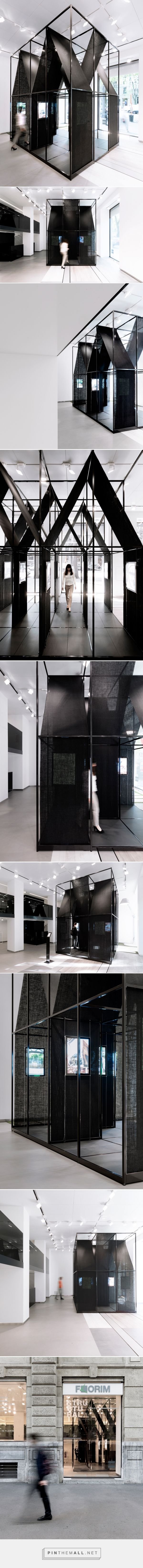 SET architects wraps steel-framed installation with black cloth - created via https://pinthemall.net