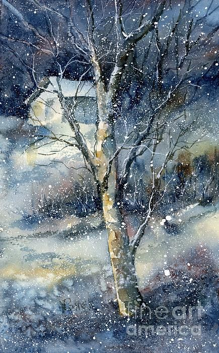 A lovely watercolor, using some salt techniques and beautiful blends of colors and tones.