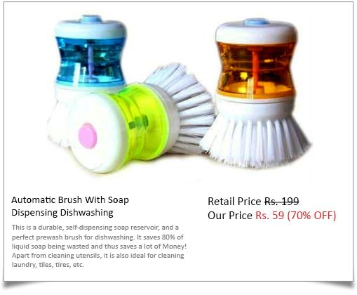 Automatic Brush With Soap Dispensing Dishwashing at Rs. 59 only ..!!  Perfect prewash brush for dishwashing.. It saves 80% of liquid soap it saves Lot of Money as there is no soap wastage ..!!