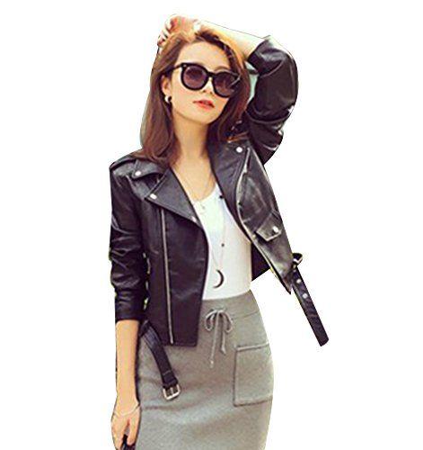 Femmes Veste en simili cuir Zipper Manteau Court Veste Blazer à Manches Longues S Noir