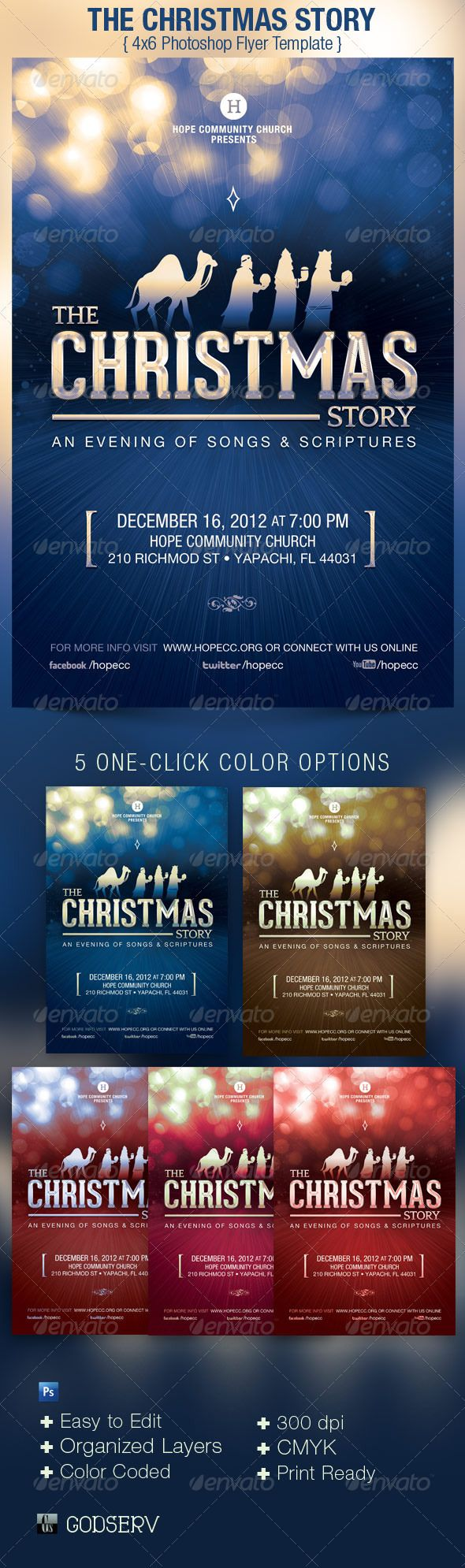 Christmas story church flyer poster template flyer for Church brochure templates free