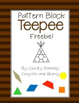 Pattern Blocks help to foster a variety of skills in the classroom. Plus, they make a great math center and cover a variety of Common Core Math Standards for kindergarten and first grade {{K.G.A.2, K.G.A.3, K.G.B.6, 1.G.A.2, 1.G.A.3} This Teepee is a FREEBIE to use in November...or any time of year that you would like.