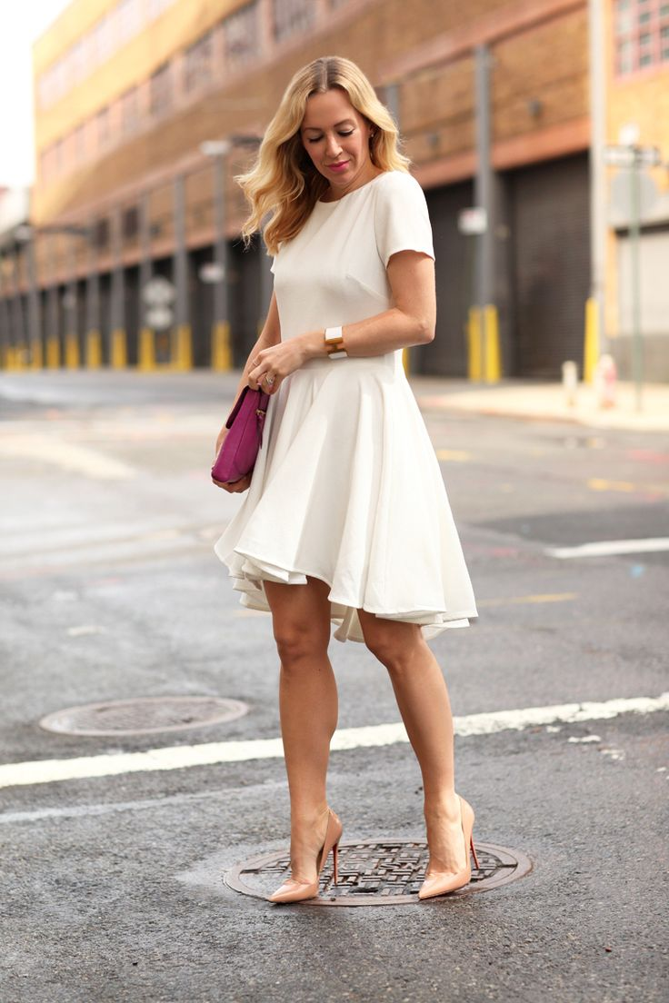 White Dresses & Warm Days by @brooklynblonde  Dress: ASOS | Shoes: Christian Louboutin So Kate (similar here and less expensive version here) | Clutch: DVF (similar) | Lipstick: MAC Pink Nouveau | Cuff: Hermes Monday, May 12, 2014