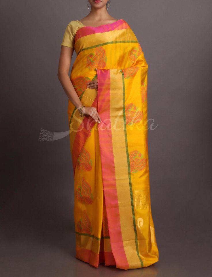 Shobha Ornate Peacock On Festive Yellow #WeddingSilkSaree