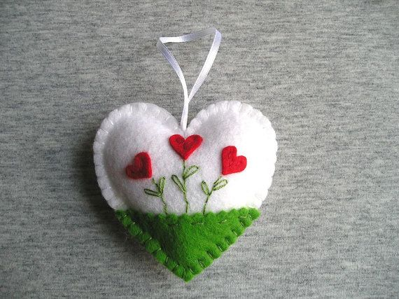 Felt ornament hearts flowers easter decoration valentines day mother day gift white green red pink blue peach, hanging handmade embriodery