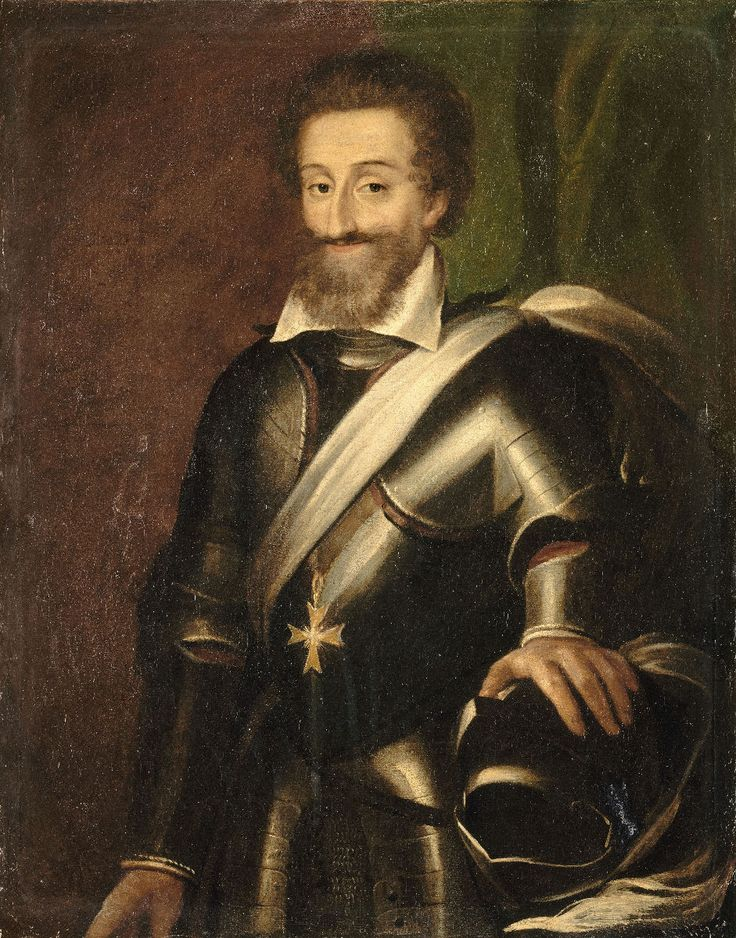 Before death and desecration:  Henry IV of France -- Good King Henry rose to the throne in 1589 when his cousin, Henry III of France, was assassinated by a fanatical Catholic monk.  Used to be friendly with Elizabeth I -- until he converted to Catholicism.  He is almost always shown in armour.