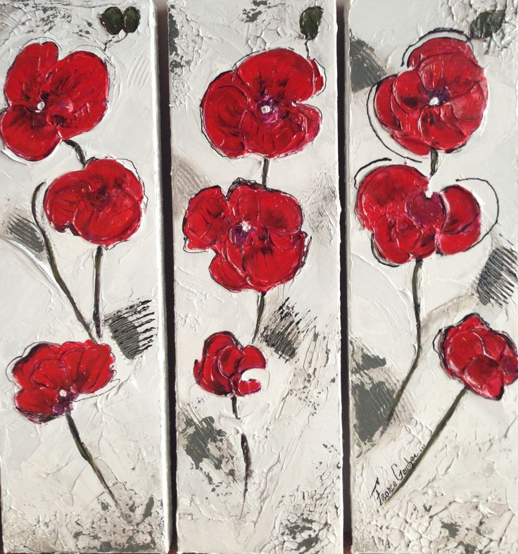 Les petites fleurs rouge  Trio 6x20  A vendre!