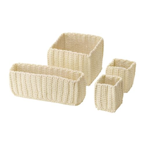 IKEA - НОРДРЭНА,799р Набор корзин,4 штуки, -, белый с оттенком, , Ручная работа – каждая корзина уникальна.