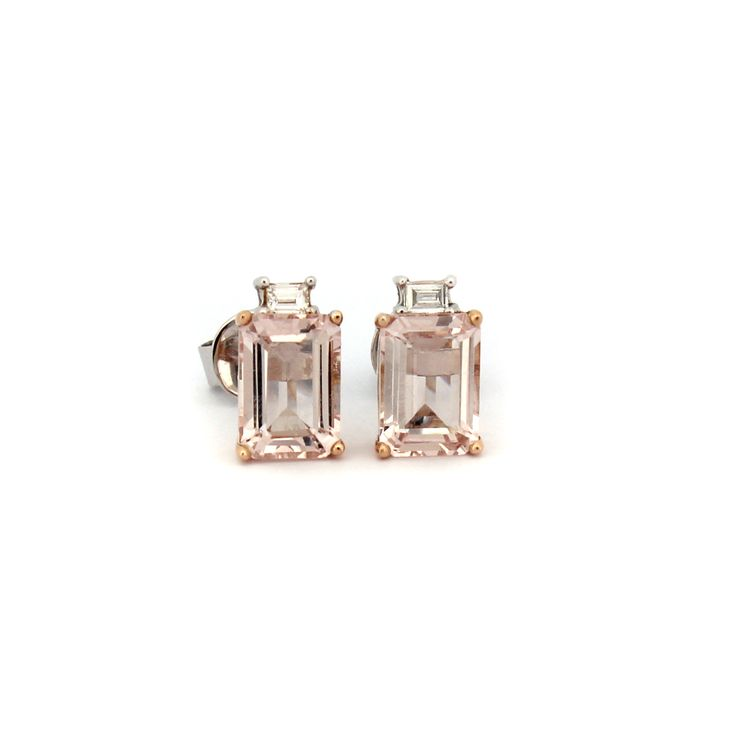 LA VIE EN ROSE EARRINGS | These beautiful earrings are handmade from 18 karat white gold and rose gold. | Morganite is a soft feminine pink coloured gemstone.