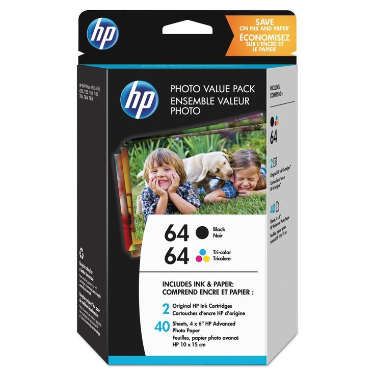 HP 64 Black and Tri-color Photo High Yield Ink Cartridge Value Pack (Z2H77AN#140)